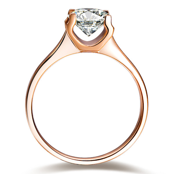 Certified Moissanite 1CT Solitaire 750 Solid Rose Gold Jewelry