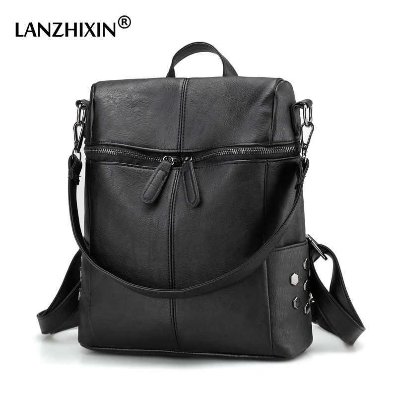 Lanzhixin Kapasitas Besar Ransel Kulit Tas Wanita Tahan Air Anti-Theft Perjalanan Sekolah Tas Laptop Ransel untuk Gadis Remaja