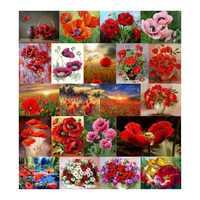 Needlework Diy Diamond Painting Poppy Flower Cross Stitch Embroidery Square Illustration Full Rhinestone Mosaic