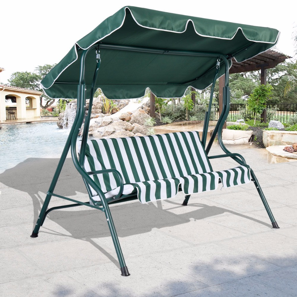 3 Person Patio Swing Outdoor Canopy Awning Yard Furniture