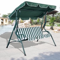 3 Person Patio Swing Outdoor Canopy Awning Yard Furniture Hammock Steel Green Free Shipping OP2573 FDS