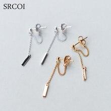 SRCOI 925 Sterling Silver Bar Long Chain Earrings Minimalist Small Bead Balls And Link Ear Thread Drop Earrings Delicate Jewelry
