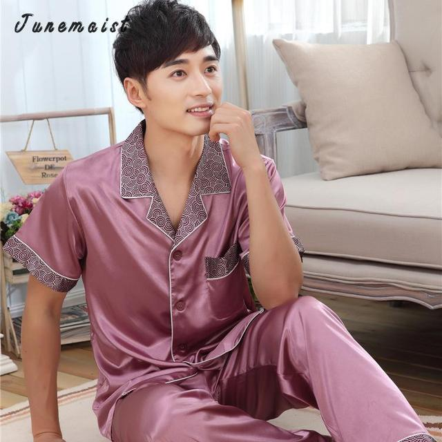 Wholesale Manufacturers Selling The New Spring And Summer Men's Silk Pajamas Home Furnishing Wear Short Sleeved Pants Silk Suit