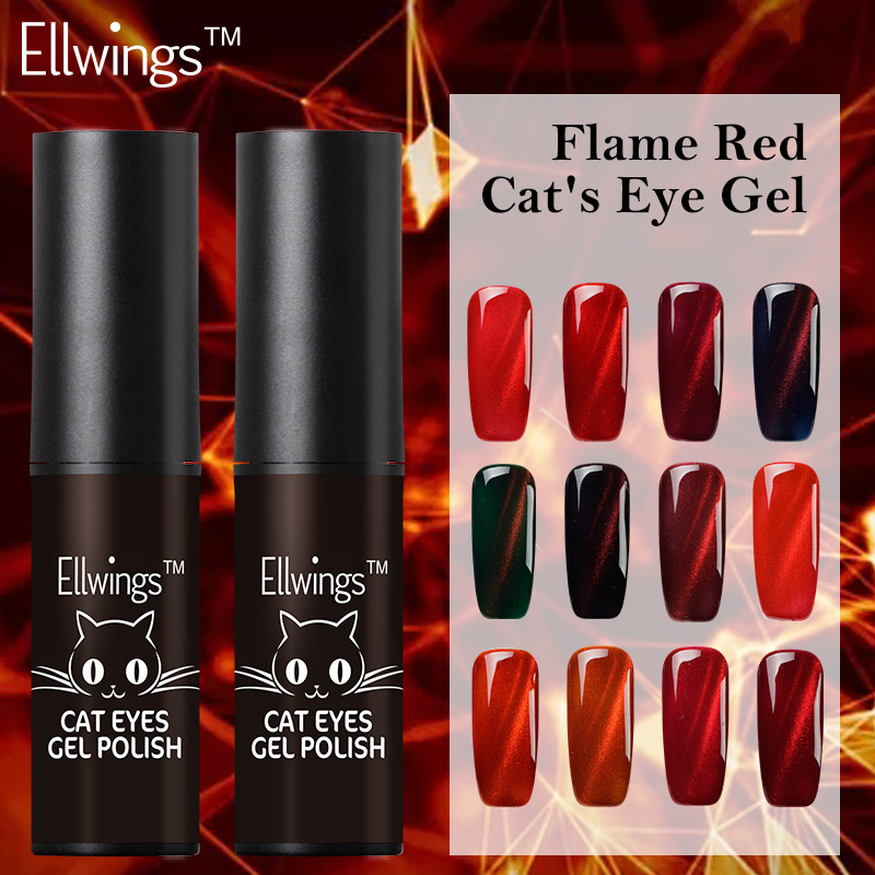 Queen Gel Nail Polish: Ellwings Glitter Flame Red Cat's Eye Nail Gel Polish 3D
