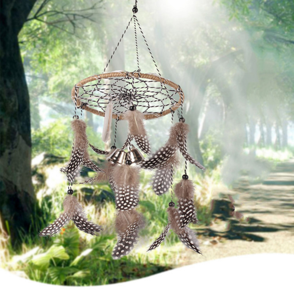 LED Light Dreamcatcher Wind Chimes Indian Style Feather Dream Catcher Wall Hanging Decoration Pendant Home Decor