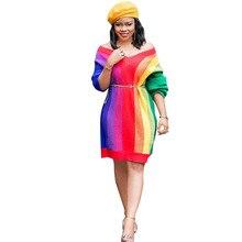 8522486df84a3c5 Радуга печати платье трапециевидной формы Для женщин Повседневное длинным  рукавом Сексуальная V шеи Полосатый Цвет блок женское .
