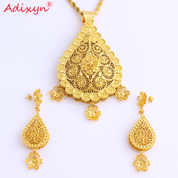 Adixyn African Big Size Jewelry Gold Color Necklace Earrings Pendant for Women Arab African Wedding Party