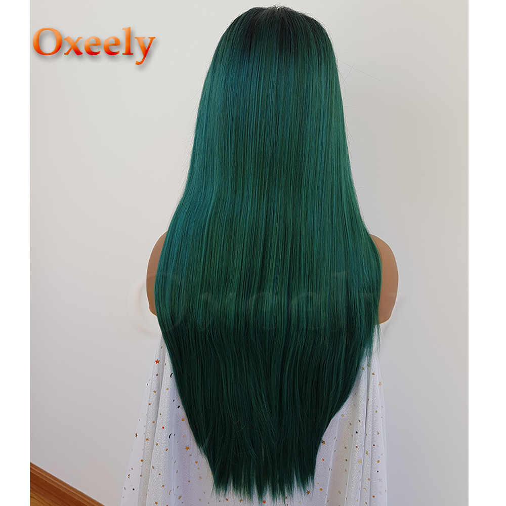 Oxeely Long Straight Ombre Green Wigs Synthetic Lace Front Wig Dark Roots Mix Blue Color Wigs for Women Glueless Soft Hair