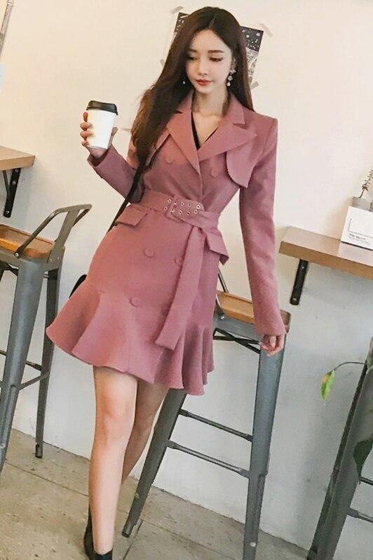 Automne printemps 2019 femmes manches longues Trench robe Vintage mode mi-longue Double-boutonnage volants Blazer robe Trench vêtements d'extérieur - 6
