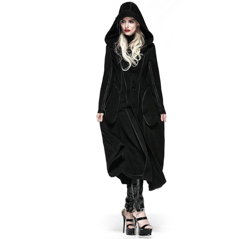 Стимпанк Готический Косплей с капюшоном длинное пальто женское Шерстяное черное пальто утолщенное из двух предметов шерстяное длинное пал