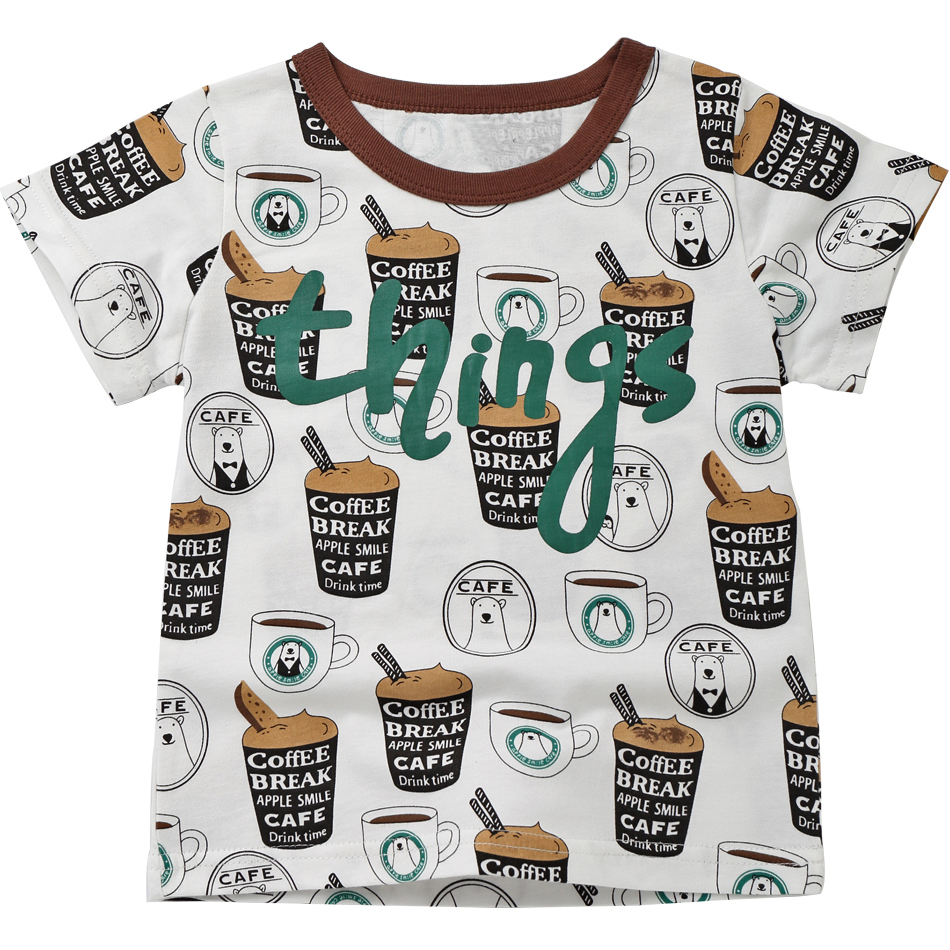 Summer 2018 Girls Tops Cotton Boys T Shirts O-neck Kids Clothes Little Girl Tshirt Baby Children Clothing Cartoon Pattern MF8571 стоимость