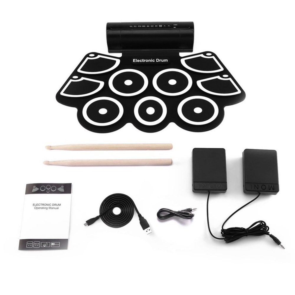 TSAI Electronic Drum MD760 Foldable Digital USB Drum Kit Delicate and Portable For Prenatal Education Professional Learning New cheerlink md 1008 usb portable multifunctional professional midi electronic drum multicolored