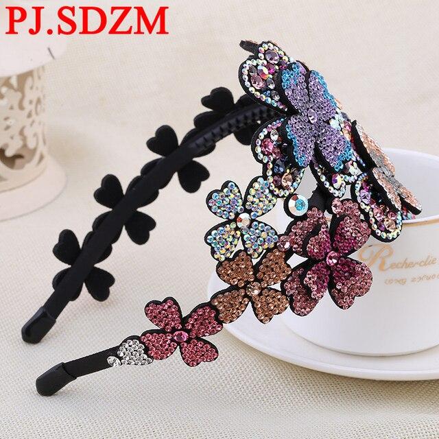 3b8286521a9 SDZM Flower Luxury Rhinestone Hairbands Girl Grade Austria Crystal  Headbands Woman Hair Accessory Headwear