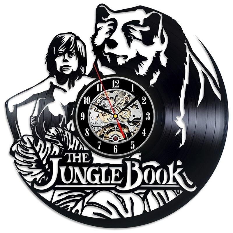 The Jungle Book Cartoon CD Record Wall Clock Antique Style Wall Clock Handmade Home Decor Mowgli Vinyl LED Wall Clock