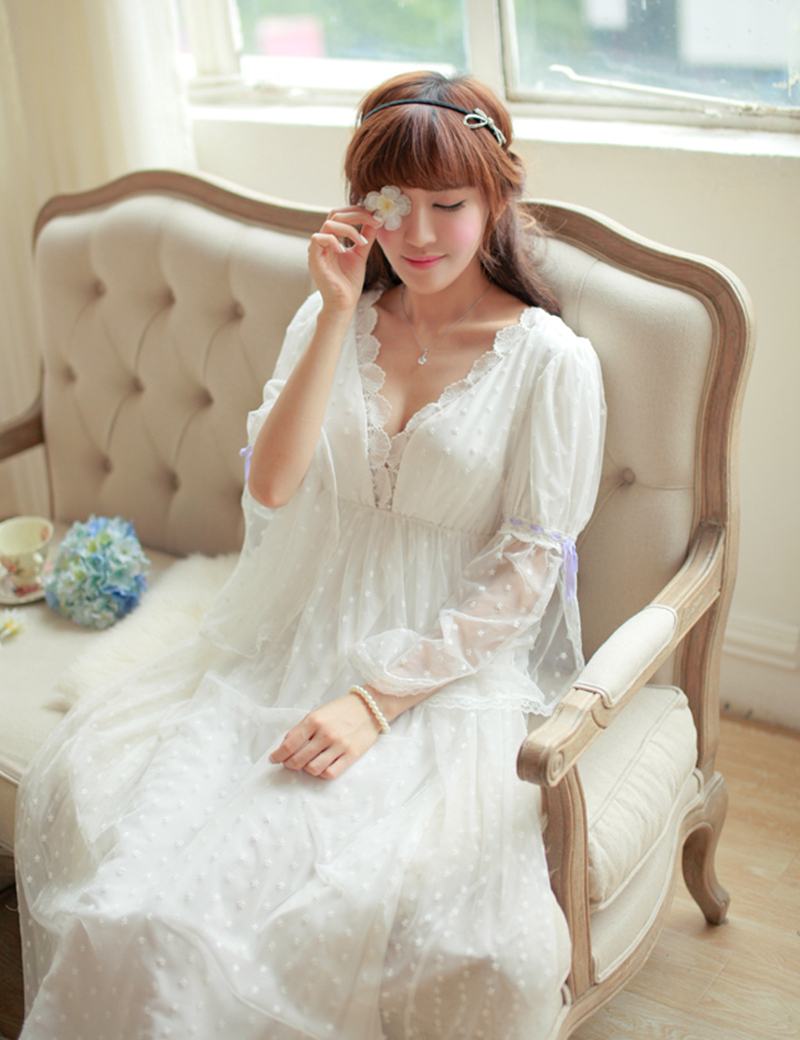 Sleepwear Sexy Long Nightwear White Lace Vintage Princess Dress ...