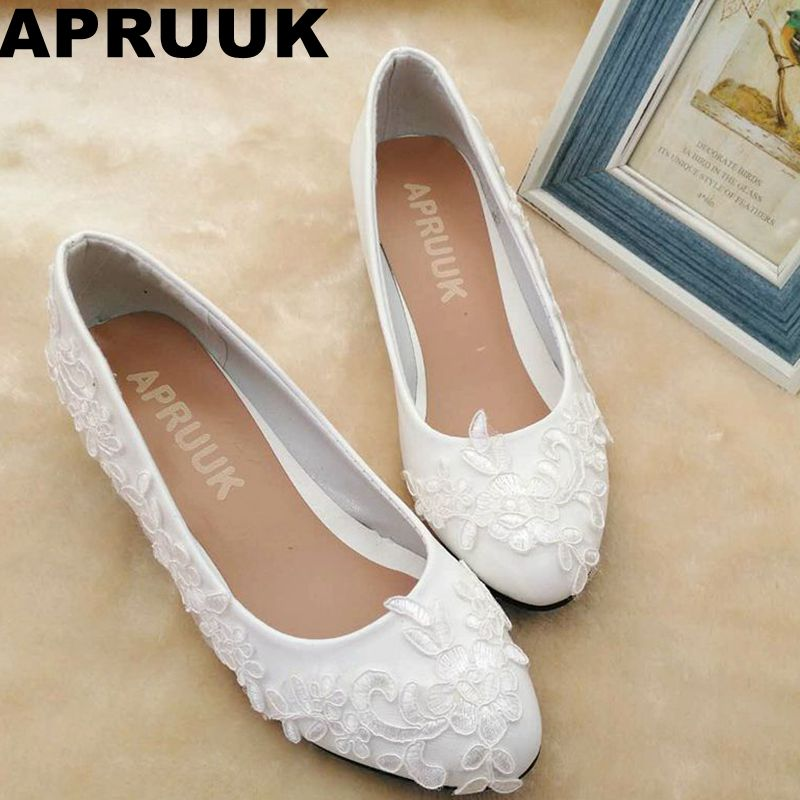 Lace Wedding Shoes Low Heel: Low Heel Plus Size White Lace Wedding Shoes Bride Handmade