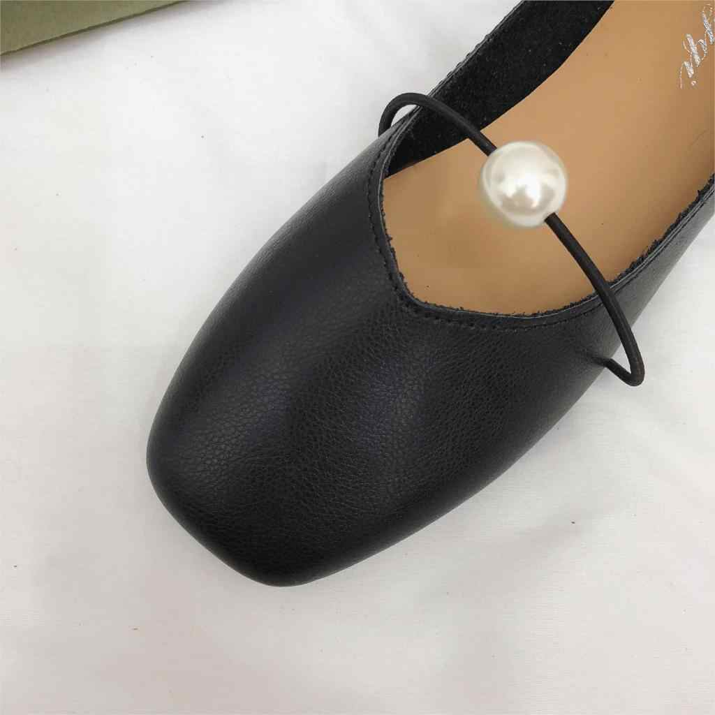 ... 2018 Autumn Women Flats Soft Leather Casual Shoes Flexible Zapatos  Mujer Fashion Pearl Ballet Flats Slip ... 53c1f9632fe0