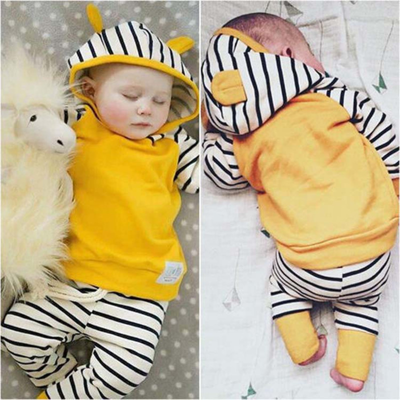 Newborn Babys Sets Boys Girls Hooded Clothes Long Sleeve Cotton T-shirt+Pants 2 Pieces Suit Autumn Children Striped Clothing