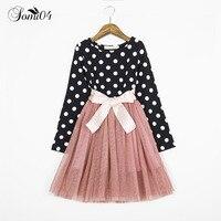 Yeni Bahar Elbise 2018 Uzun Kollu Kız Giyim Polka Dot Kız Prenses Parti Shining Kostümleri Çocuklar Için Siyah Beyaz Giysileri