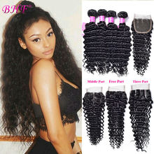 8A Grade Peruvian Deep Wave Closure Kings Hair Unprocessed Human Hair Closures Virgin Peruvian Curly Hair 4 Bundles With Closure