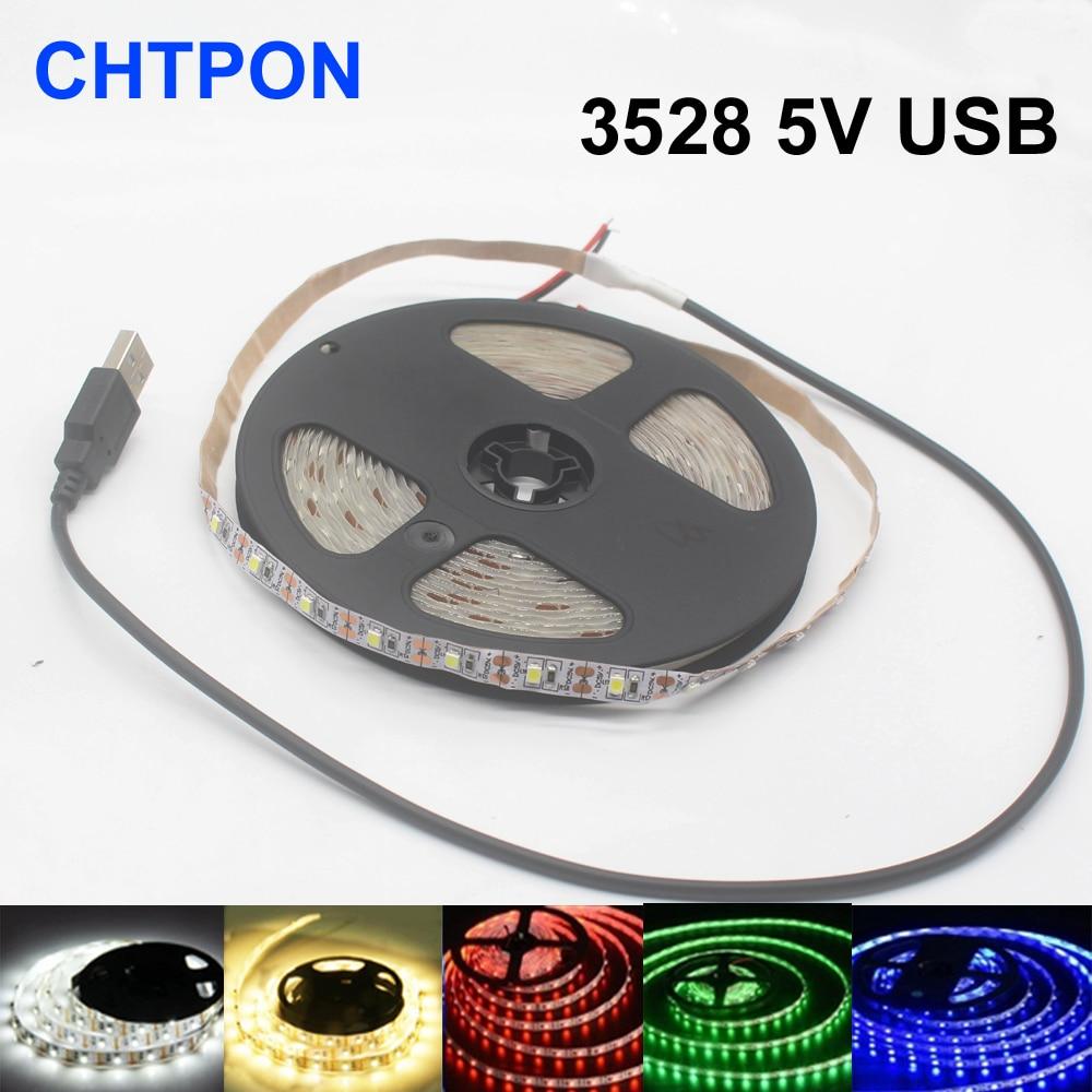 USB LED Strip Light Backlight Lamp Self Adhesive Flexible Tape Warm//Cool White