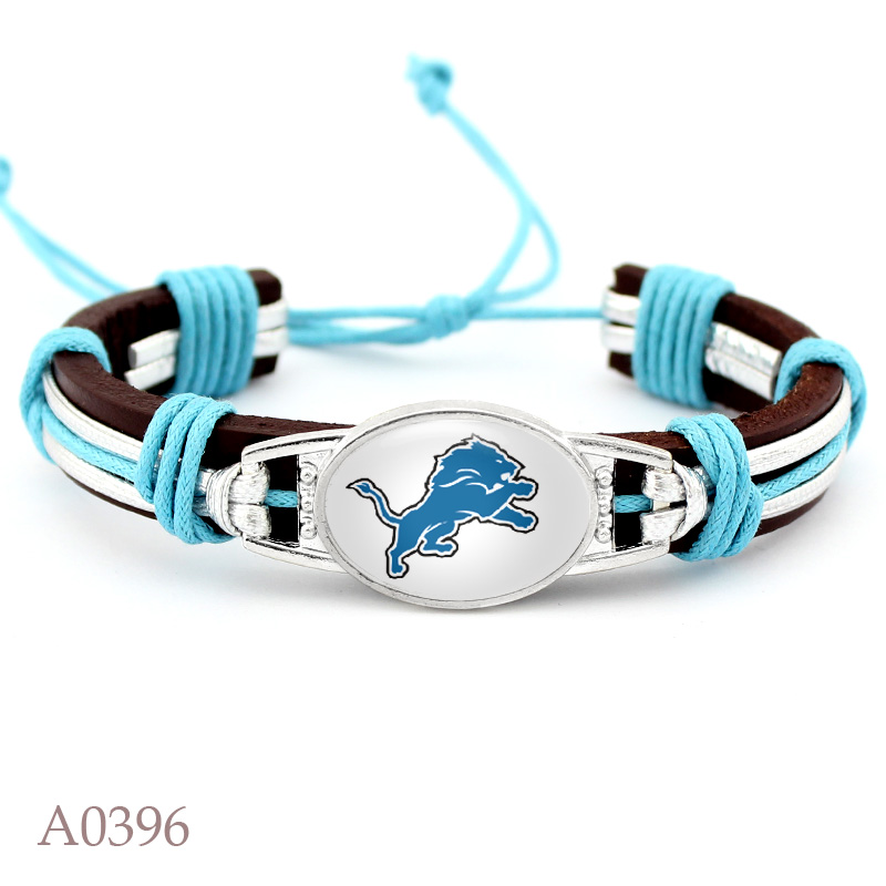 Detroit Lions Football Team Real Leather Bracelet Adjustable Mens Real Leather Bracelet For Fans Gifts 10 PCS