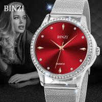 BINZI Brand Women Watches Luxury Quartz Montre Femme 2018 Dress Gold Lady Stainless Steel Watch Women's Fashion Relogio Feminino