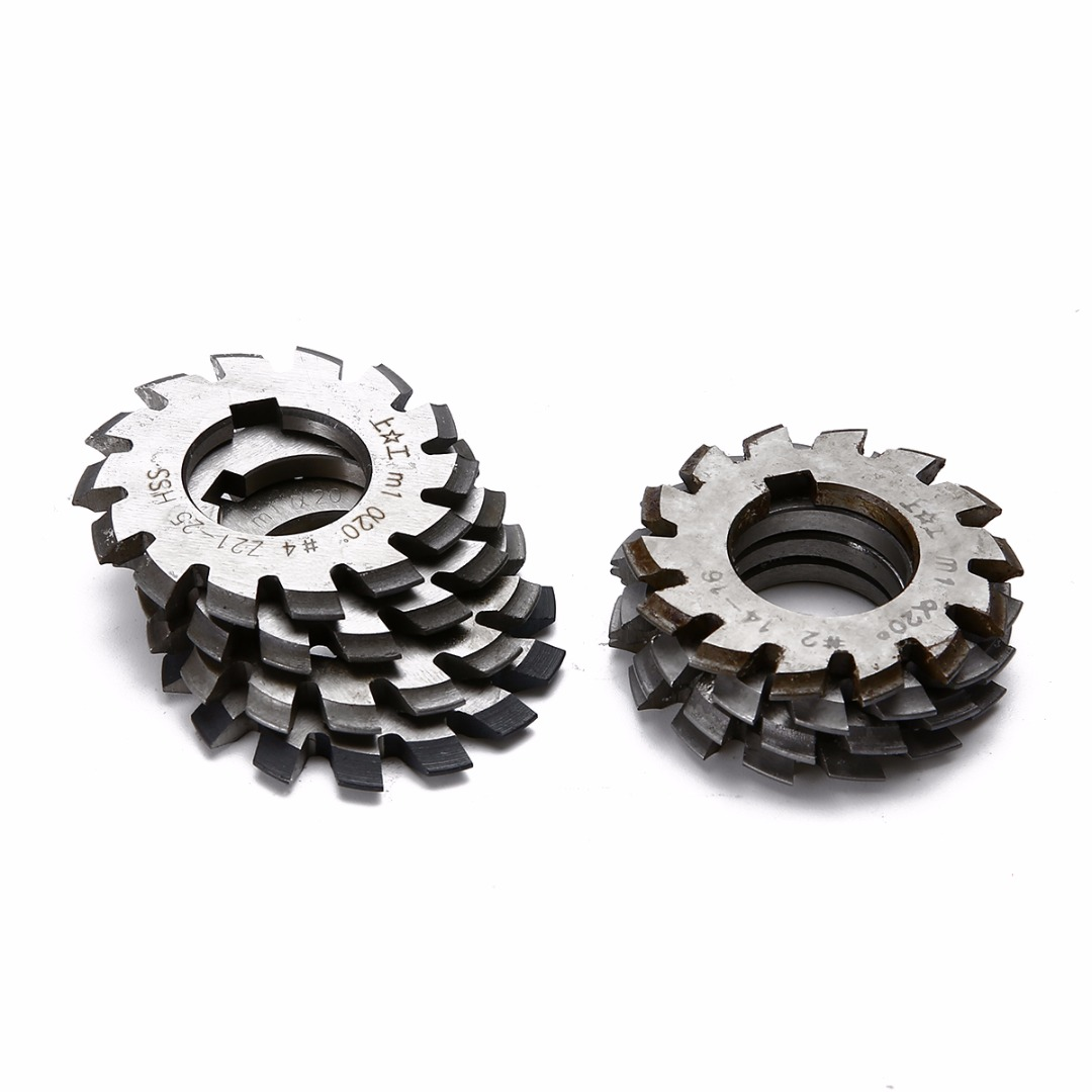 8pcs/set HSS Involute Gear Cutters Set M1 PA20 20 Degree Gear Cutters No 1-8 Assortment Kit diameter 22mm m2 20 degree 2 involute module gear cutters hss high speed steel new machine tools accessories