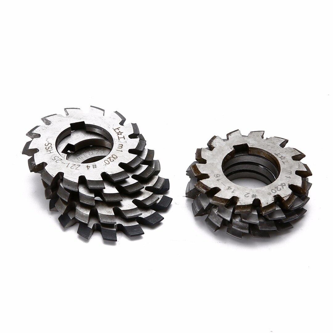 MEIZXIU 8pcs New M1 PA20 20 Degree HSS Involute Gear Cutters Set #1-8 Assortment Kit for Power Tool