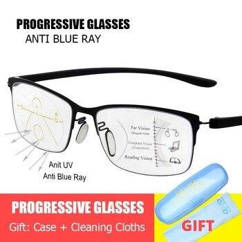 b309544c41 De moda progresiva gafas Anti azul Ray Multifocal de lectura gafas de  presbicia gafas de diseño Unisex gafas de Marco