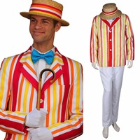 Cosplaydiy Custom Made Mary Poppins Bert Cosplay Costume With Hat For Men Halloween Costume