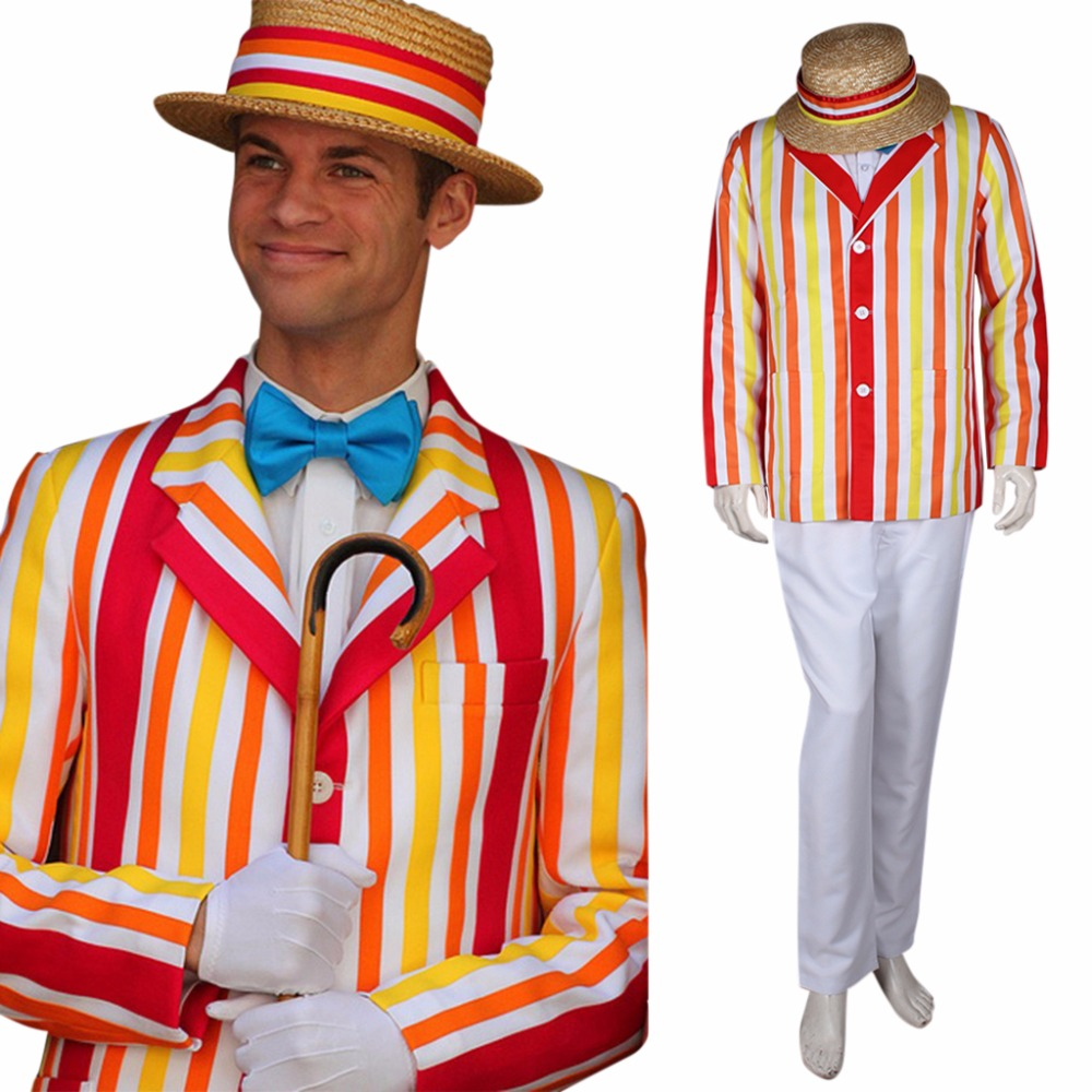 Cosplaydiy Custom Made Mary Poppins Bert cosplay costume for men halloween costume