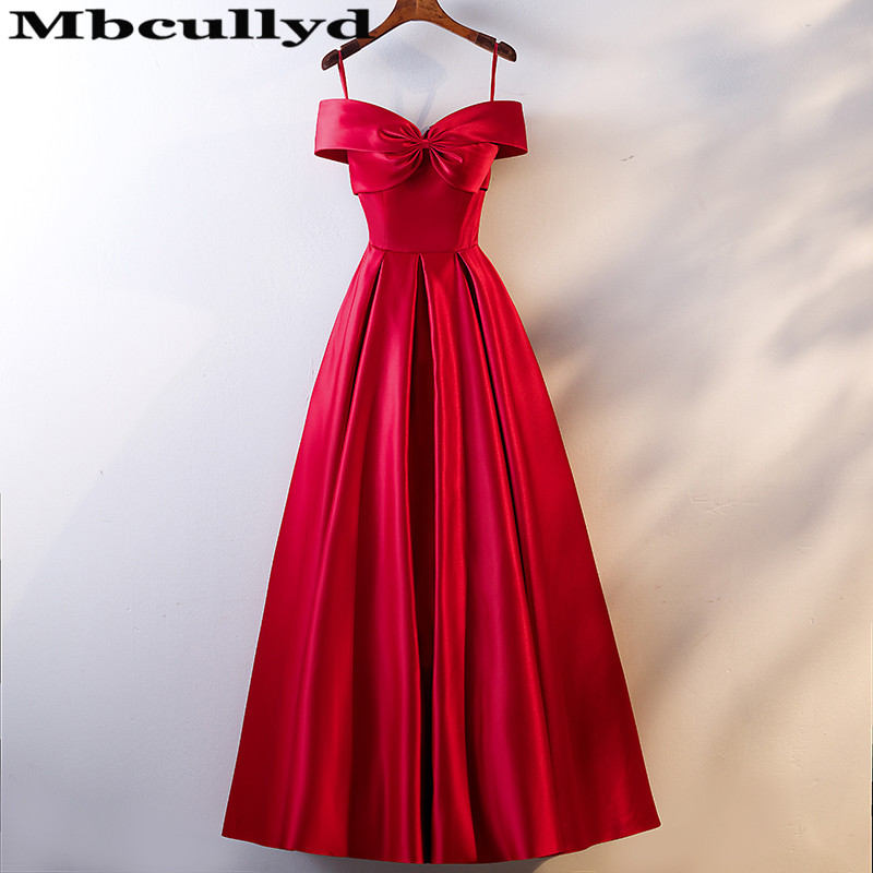 Mbcully Red Satin A-line Bridesmaid Dresses Long Dress For Wedding Party For Woman Maid Of Honor Dress Floor Length Vestido Long