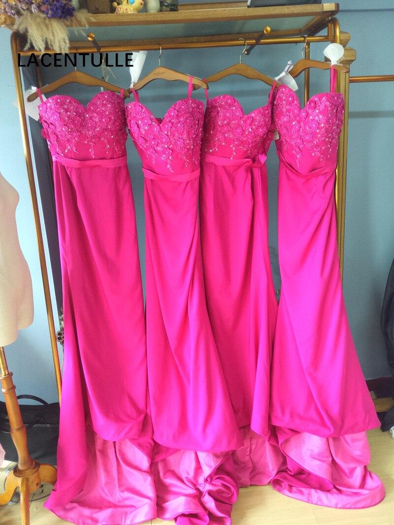 Robe de demoiselle d'honneur longue sans manches longueur de plancher décolleté chérie robe de soirée de mariage Fuchsia