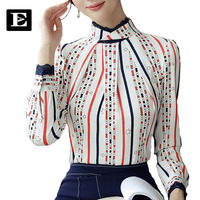 EvelingAsky 2017 New Lace Stitching Blouse Women S Color Stripes Shirt With Lotus Leaf Collar For