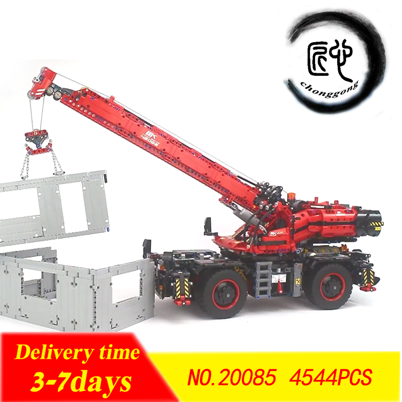New 20085 fit legoings 42082 Technic Series Rough Terrain Crane Building Blocks Bricks Educational diy Toys birthday Gift lepin technic 20085 legoingly 42082 rough terrain crane model set building blocks bricks educational toys for children christmas