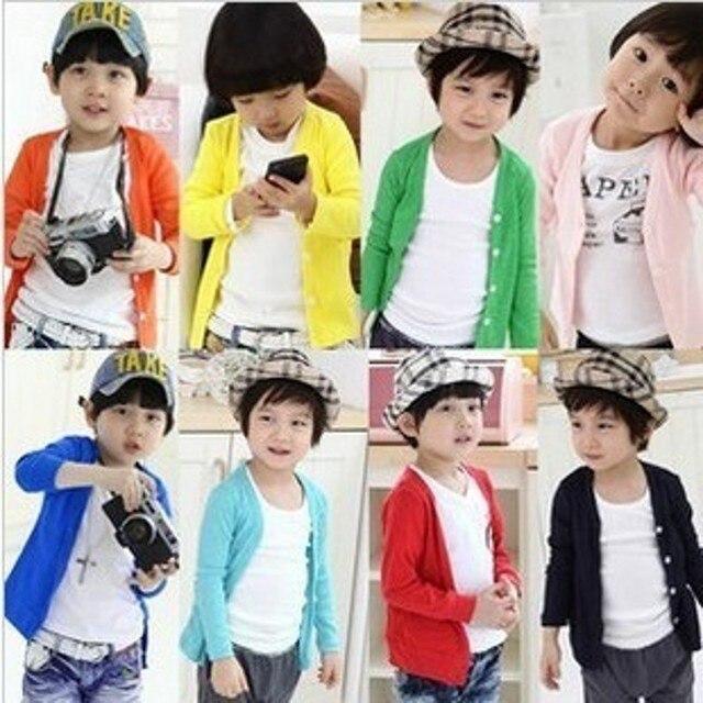 New Style Mùa Xuân Mùa Thu kẹo bông-màu cardigan chàng trai cô gái cardigan outwear trẻ em trẻ em áo len