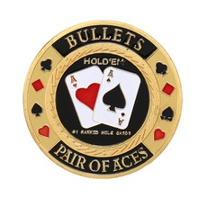 Card-Protector Guard Poker-Chip Metal Case Coin-Pair Plastic of with Round Craft Aces-Gold-Plated