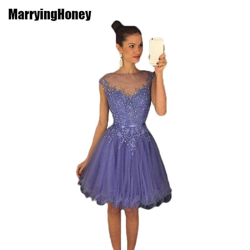 Beaded Dark Purple Homecoming Dresses Short Lilac Cap ...