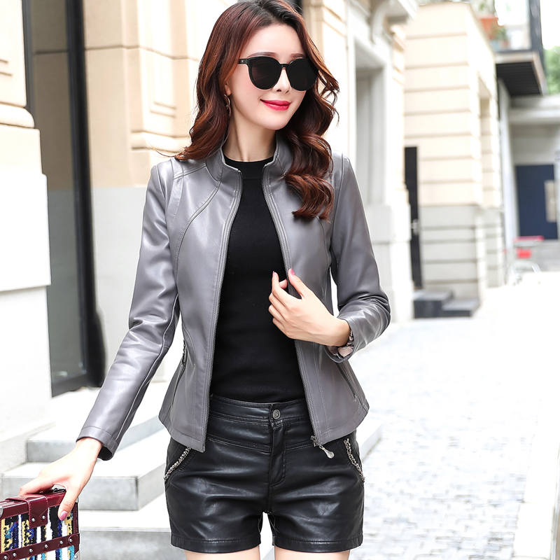 2019 New Fashion Womens Slim Faux   Leather   Jackets Ladies Soft Wash   Leather   Coat Plus Size 5XL Female   leather   Zippers Clothing