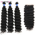 Grade 7A Brazilian Deep Wave With Closure 4 Bundle Brazilian Hair Weave Bundles With Closure Cheap Bundles With Closures Lot