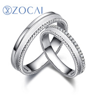ZOCAI 0.13 CT Certified Diamond Wedding Bands18K White Gold (Au 750) Women and Men Wedding Ring JBQ00155AB