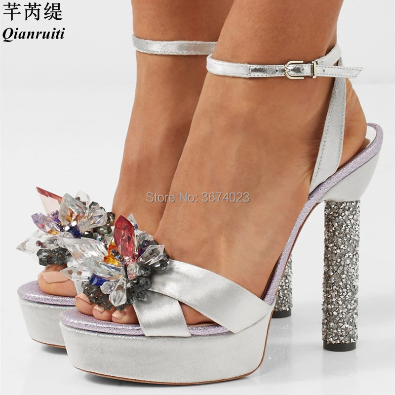 be1f7f60a8f8c ... Qianruiti Women Shoes Platforms Sandals Summer Luxury Floral Crystal High  Heels Ankle Strap Stilettos Glitter Block ...