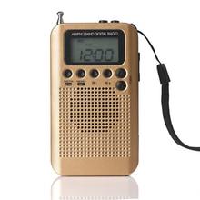"HRD-104 Portable AM/FM Stereo Radio Pocket 2-Band Digital Tuning Radio Mini Receiver Radio w/ Earphone Lanyard 1.3"" LCD Screen"