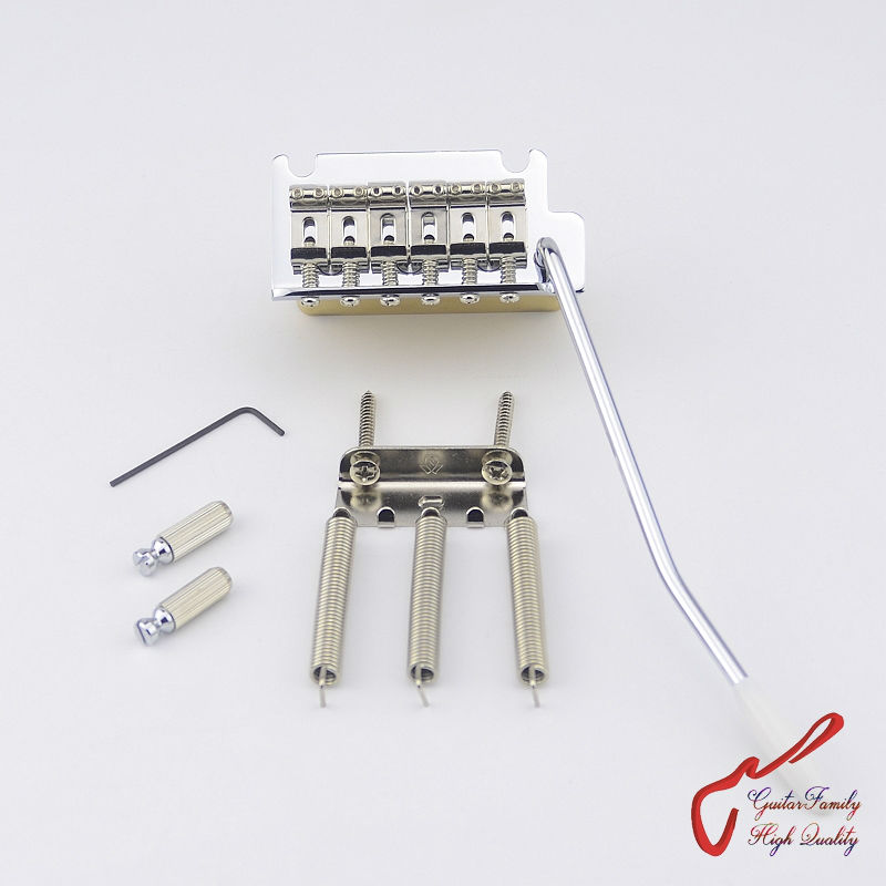 1 Set GuitarFamily Super Quality Chrome 2 Point Vintage Style Tremolo System Bridge With Brass Block
