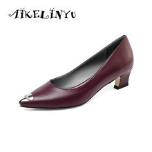AIKELINYU Women Cow Leather Shoes Autumn Genuine Slip-On Woman Black Heels Pointed Toe Womens Pumps Big Girl