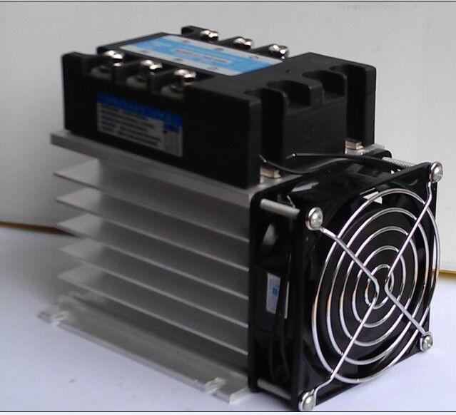 цена на High quality 50A 3-phase SSR solid state relays DC-AC with heat sink and fan