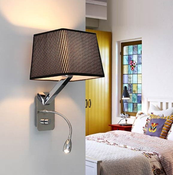 Modern brief bedside wall lamps 1w led reading light lamp wall bed creative fabric wall sconces band switch modern led reading wall light fixtures for bedroom wall lamp aloadofball Gallery
