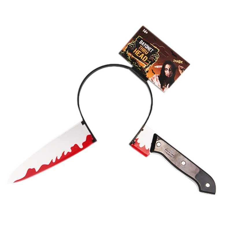 Halloween Hair Hoop Knife Through Head Funny Scary Headband Fake Blood Props New