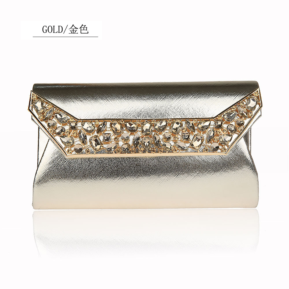 63d2b05446 Flash Rhinestone Evening Bags Luxurious Noble Solid Color Simple Envelope  Package Meeting Dinner Clutch Hand Bag Handbag WY208